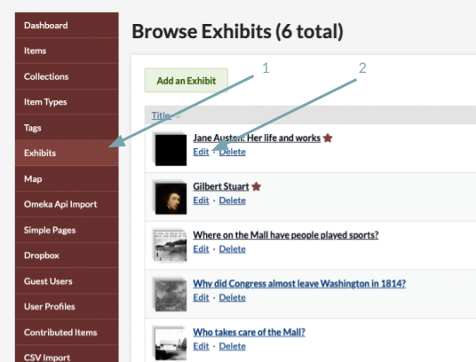 One red arrow points to the Exhibits tab and a second red arrow points to the Edit button for a specific exhibit.