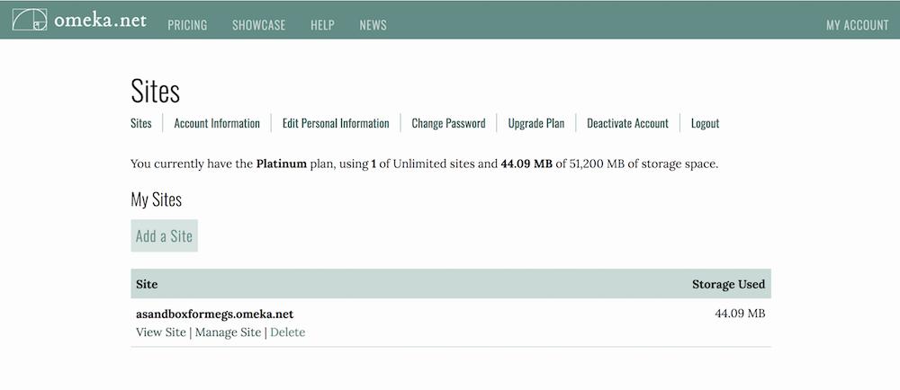 Omeka.net account dashboard on first tab