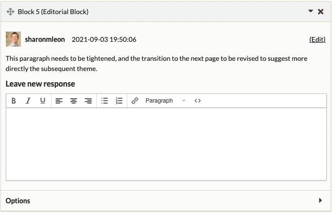 """Editorial block with one reply, stating """"awesome"""""""