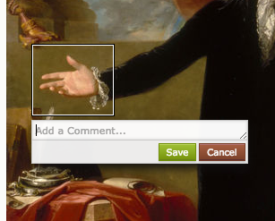 "Middle of a painting depicting a torso dressed in black with an extended hand, palm up. There is a white rectangle around the hand - the annotation box - and immediately below it is a text entry field with a cursor, under which are ""save"" and ""cancel"" buttons"