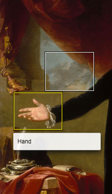 "A section of a painting showing drawpery in front of a cloudy sky in the background, and in the foreground an extended arm in black clothing with a hand, palm up. A white-edged rectangle outlines one of the clouds. A yellow-edged rectangle surrounds the hand, with a caption below it stating ""Hand"""