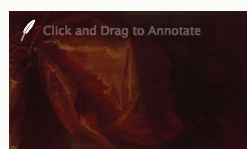 "A cropped view of the upper right hand corner of an image with a red background, showing a quill feather icon with faint text ""Click and drag to annotate"""