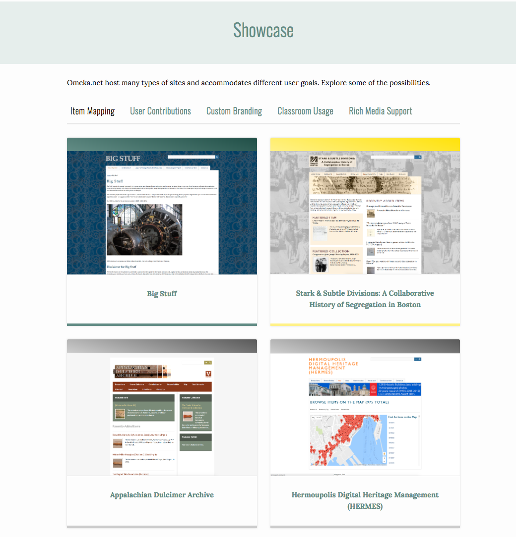 The new showcase page, with four sites featured: Big Stuff, Stark & Subtle Divisions, Appalachian Dulcimer Archive, and Hermoupolis Digital Heritage Management