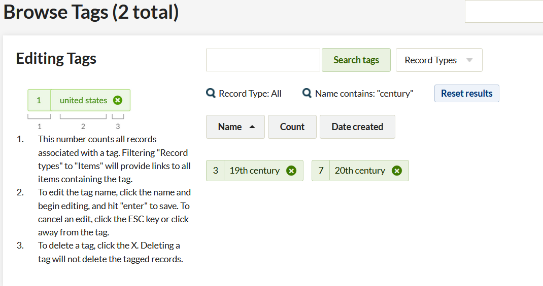 """Browse tags page showing the results of a search for the word """"century"""". Two tags are displayed - 19th century and 20th century, and above them is an icon of a magnifying glass with the text """"Name contains: century"""""""