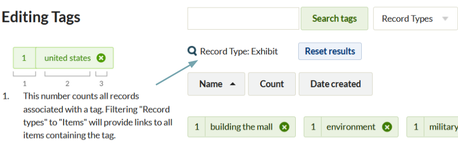 """Shows the browse tags page including search, tag info display, and tags. A red arrow points to a message stating """"Record Type: Exhibit"""" next to the search bar"""