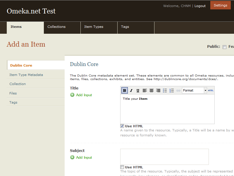 Dublin Core metada when adding an item