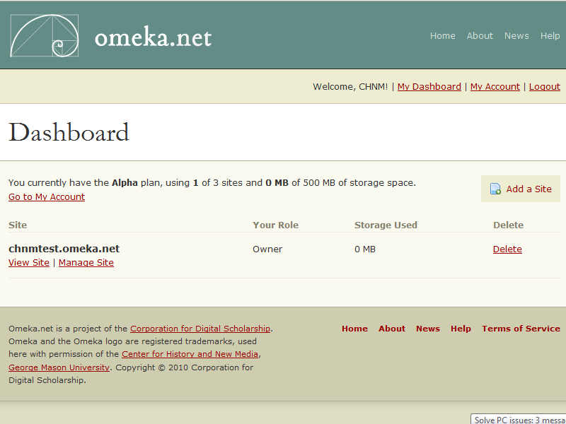Omeka dot net Dashboard