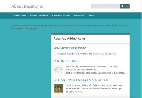 Screenshot of site homepage