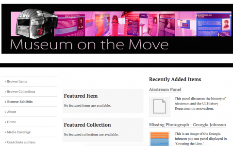 Home page of Museum on the Move, with header