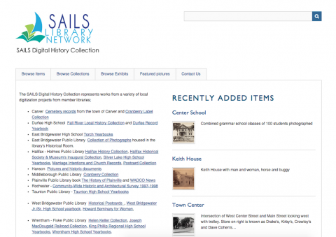 Homepage for Sails Digital History Collection