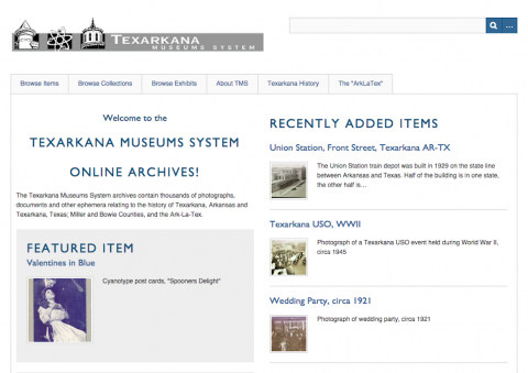 Screenshot of Texarkana museum system homepage