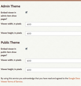 Options for configuring docs viewer display on public and admin sides.