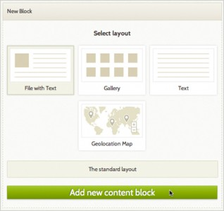 Add content block with options for file with text, gallery, text, and map