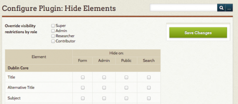 Hide elements configuration on the admin side.