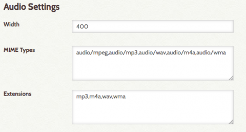 HTML5 Audio configuration settings