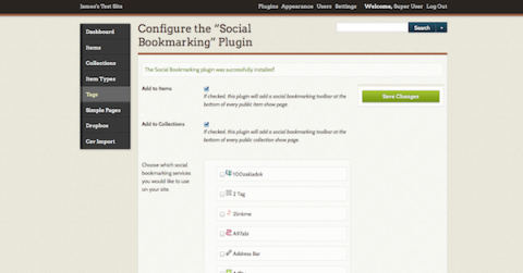 Social Bookmarking Configuration screen